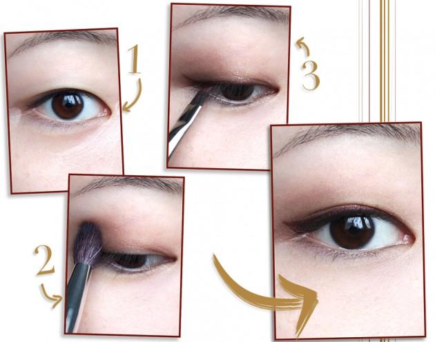 Step by step burgundy winged liner tutorial