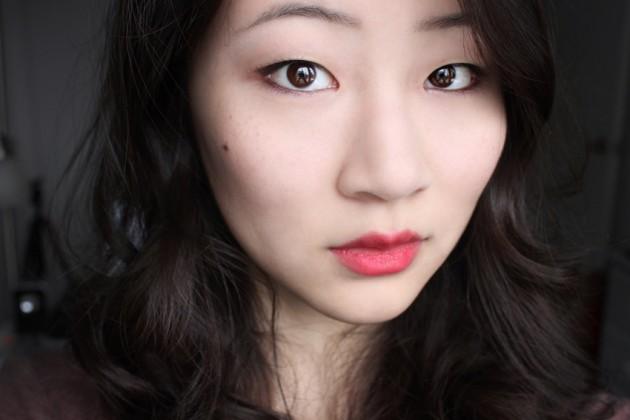 shu uemura mon shu red swatch makeup look