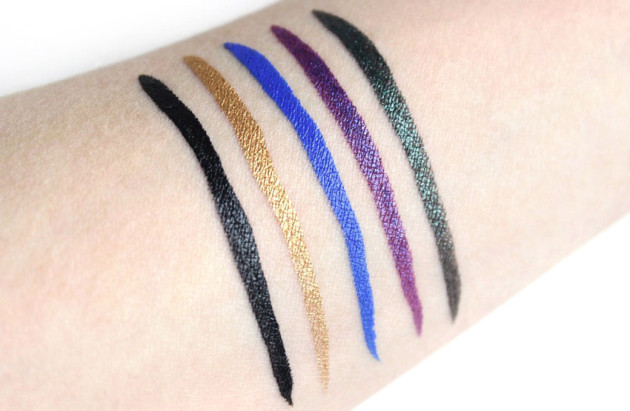 Lancome Artliner 24H swatches - Emerald Amethyst Sapphire Gold Black Diamond