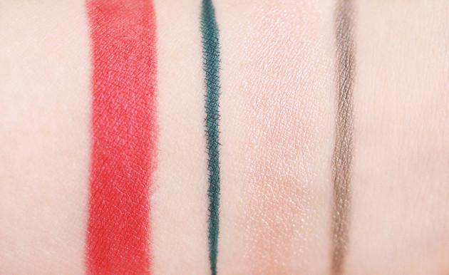 Lise Watier Expression swatch lipstick Vert eyeliner Fairy Pink, Eye Shine