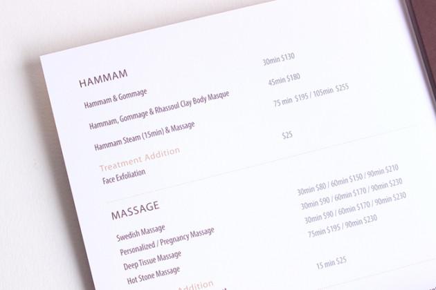 Miraj Hammam Spa by Caudalie services menu