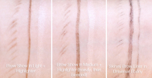 Annabelle BrowShow swatches light medium, Skinny Brow Liner Universal Ebony