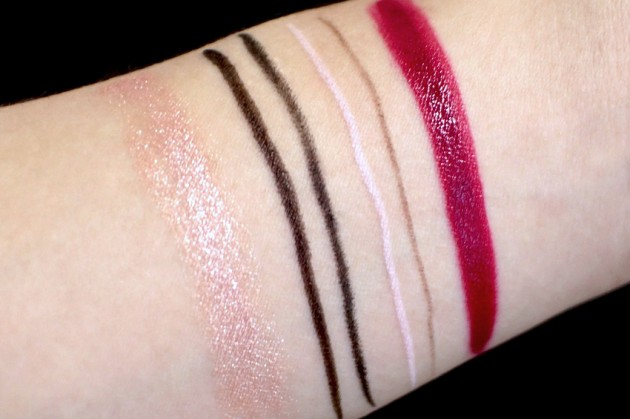Pur Minerals Eye Polish Satin swatches, liner, brow, Mystic