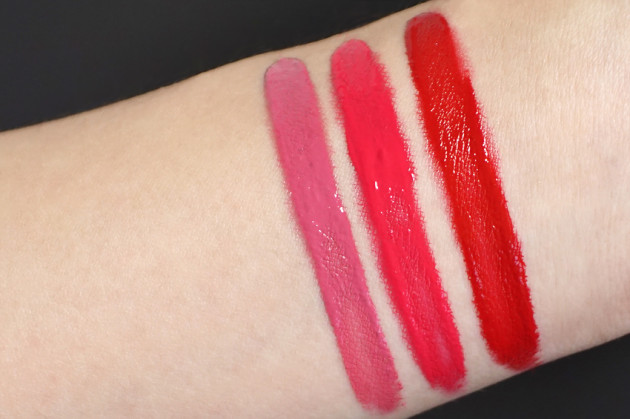 Lise Watier Bombshell, Candy, Red Hot Kiss swatches Baiser Satin