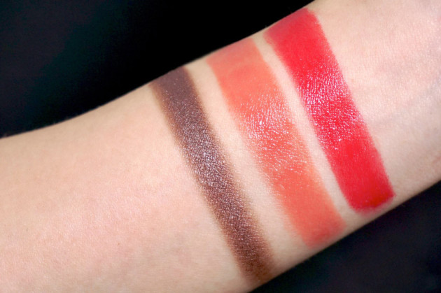 Clarins swatches Pink Cherry, Silver Plum, Rose Praline review
