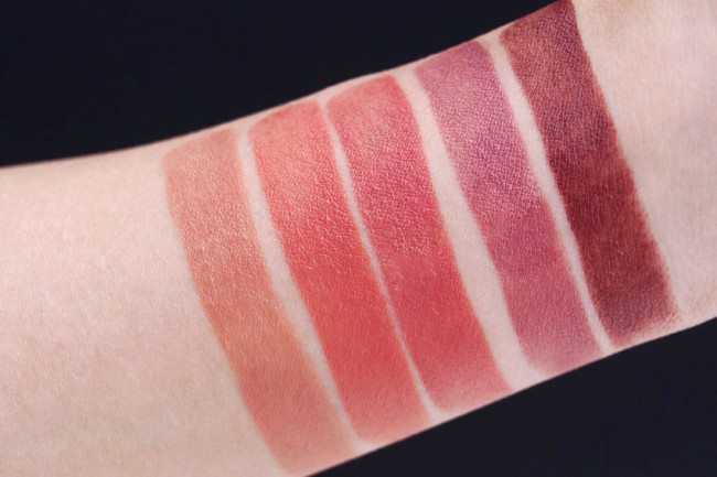 Lise Watier Charlize, Kim, Daphne swatches review