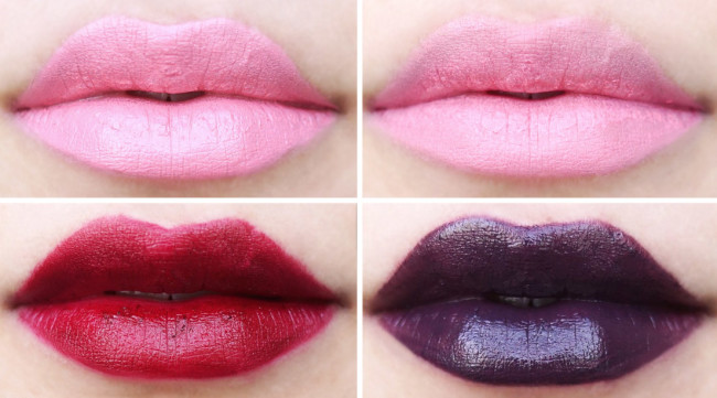 Artist Acrylip candy pink, eggplant, dark purple swatches review