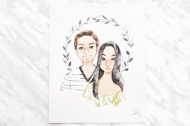 Commissioned watercolour portrait by Isabel Hernandez