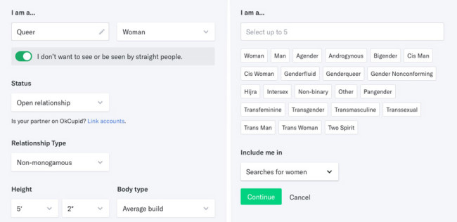 OKC gender and sexuality options