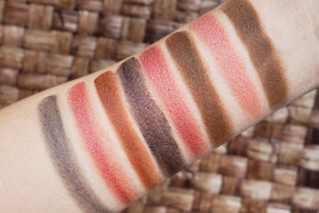 The Organic Skin Co swatches cream, powder eyeshadows
